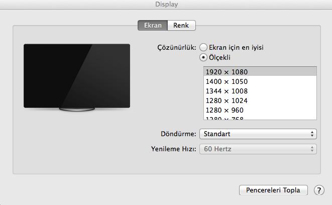 Macbook'ta Ekran Çözünürlüğü Sorunu